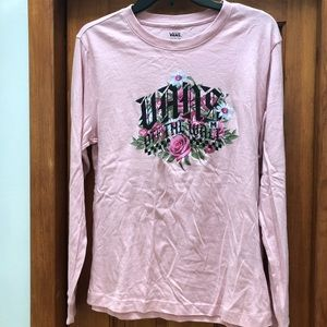VANS off the wall pink/flower long sleeve shirt